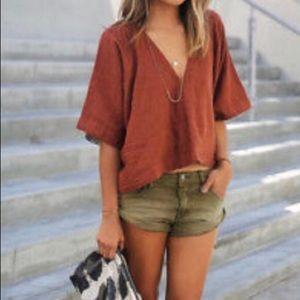 Free People | high cut green jean shorts